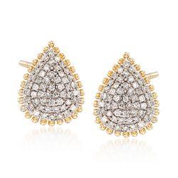 .31 ct. t.w. Pave Diamond Beaded Teardrop Earrings in 14kt Yellow Gold, , default