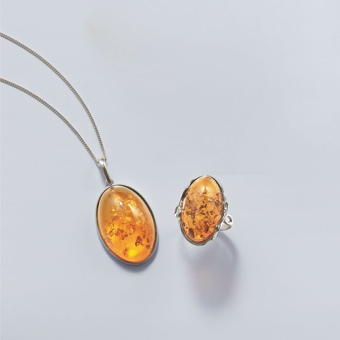 Oval Cognac Amber Pendant Necklace in Sterling Silver
