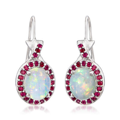 Ethiopian Opal and .70 ct. t.w. Ruby Drop Earrings in Sterling Silver, , default