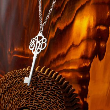 Sterling Silver Script Monogram Key Pendant Necklace