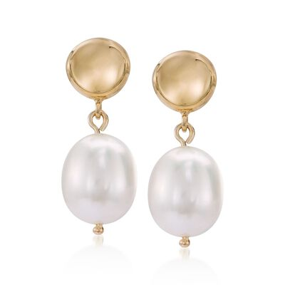9mm Cultured Pearl Thumbnail Dangle Earrings in 14kt Yellow Gold
