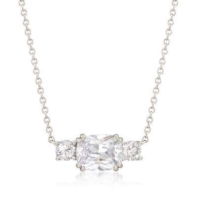 3.00 ct. t.w. CZ Three-Stone Necklace in Sterling Silver, , default
