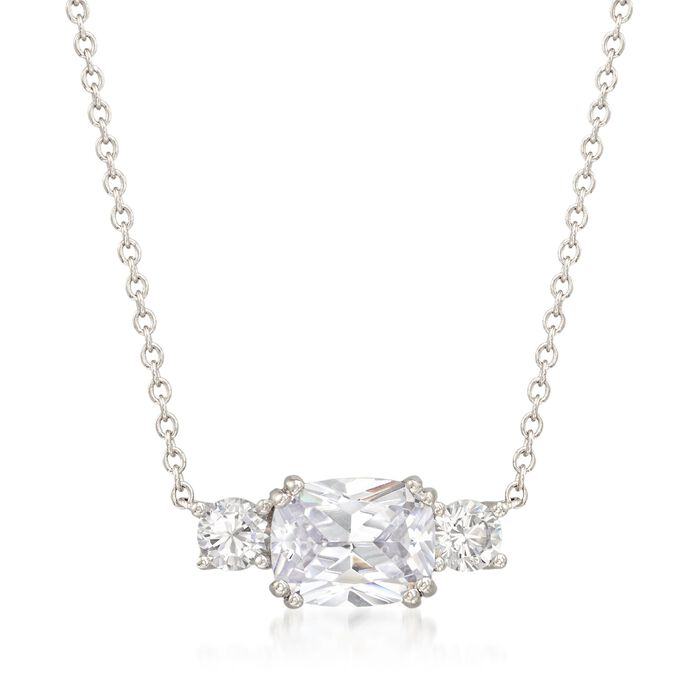"""3.00 ct. t.w. CZ Three-Stone Necklace in Sterling Silver. 18"""", , default"""