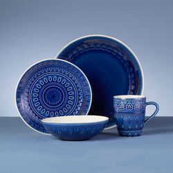Fez Cobalt Blue Stoneware 16-pc. Service for 4 Dinnerware Set, , default