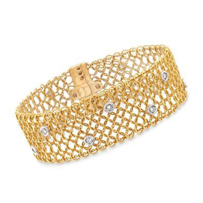 C. 1980 Vintage .50 ct. t.w. Diamond Mesh Bracelet in 18kt Yellow Gold, , default