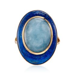 Milky Aquamarine and Lapis Dome Ring in 14kt Yellow Gold, , default