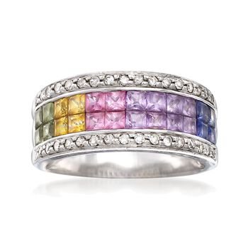 C. 2000 Vintage 1.00 ct. t.w. Multicolored Sapphire and .35 ct. t.w. Diamond Ring in 14kt White Gold. Size 7.5, , default