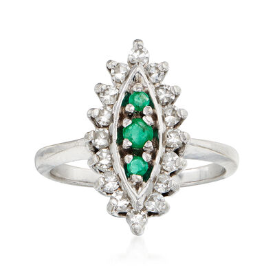 C. 1980 Vintage .40 ct. t.w. Diamond and .15 ct. t.w. Emerald Navette Ring in 14kt White Gold