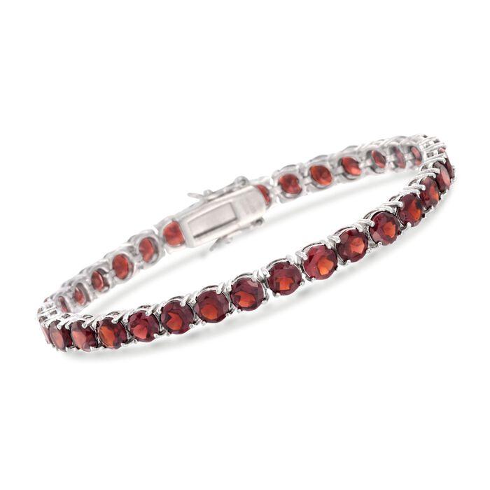 """19.20 ct. t.w. Garnet Tennis Bracelet in Sterling Silver. 7"""", , default"""