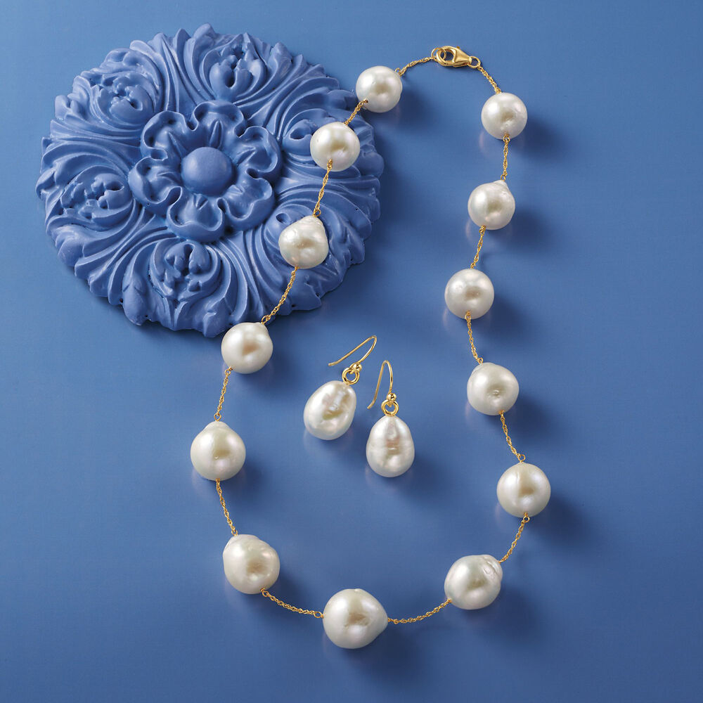 12 14mm Cultured Baroque Pearl Drop Earrings In 14kt