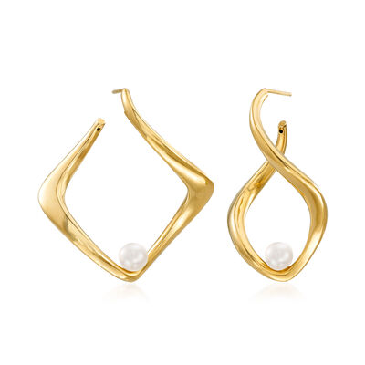 Italian 6-6.25mm Cultured Pearl Twisted Earrings in 18kt Gold Over Sterling, , default