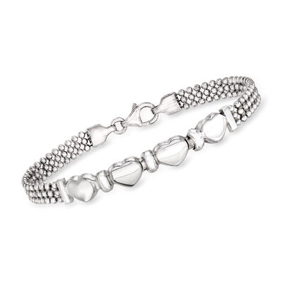Italian Sterling Silver Beaded Bracelet with Hearts