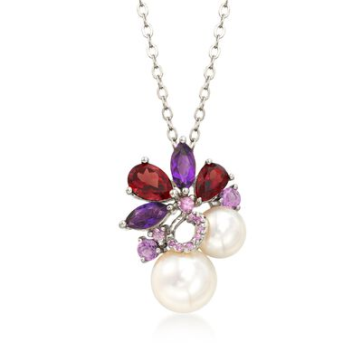 7-9.5mm Cultured Pearl and 2.30 ct. t.w. Multi-Stone Cluster Pendant Necklace in Sterling Silver, , default