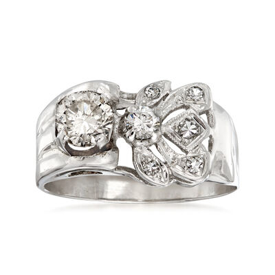 C. 1950 Vintage .80 ct. t.w. Diamond Cocktail Ring in 14kt White Gold, , default
