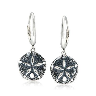 Sterling Silver Sand Dollar Drop Earrings, , default