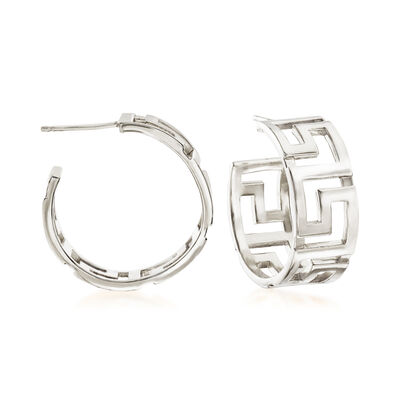Italian Sterling Silver Greek Key Hoop Earrings, , default