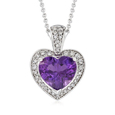 C. 2000 Vintage 3.50 Carat Amethyst and .50 ct. t.w. Diamond Heart Pendant Necklace in 18kt and 14kt White Gold