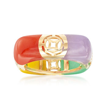 Multicolored Jade and Cutout Symbol Ring in 14kt Yellow Gold, , default