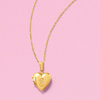 Baby's 14kt Yellow Gold Single-Initial Heart Locket Necklace. 13""