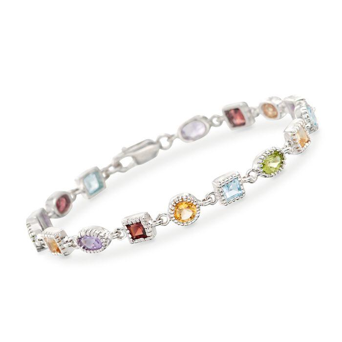 """8.30 ct. t.w. Multi-Stone Bracelet in Sterling Silver. 7.5"""""""