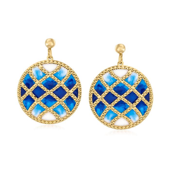 Italian 14kt Yellow Gold Drop Earrings with Multicolored Enamel