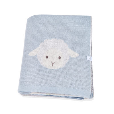 Blue Lamb Baby Blanket, , default