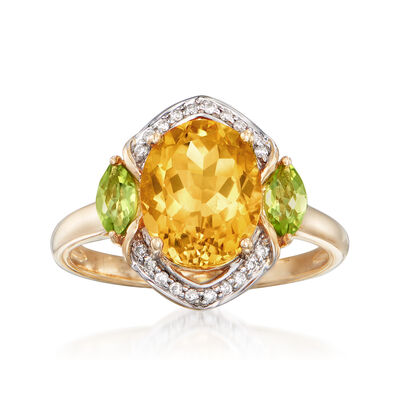 2.60 Carat Citrine and .30 ct. t.w. Peridot Ring with Diamond Accents in 14kt Yellow Gold, , default