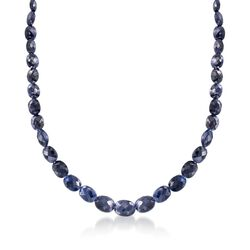 "6-12mm Graduated Sapphire Bead Necklace in Sterling Silver. 18.5"", , default"