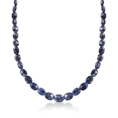 6-12mm Graduated Sapphire Bead Necklace in Sterling Silver, , default