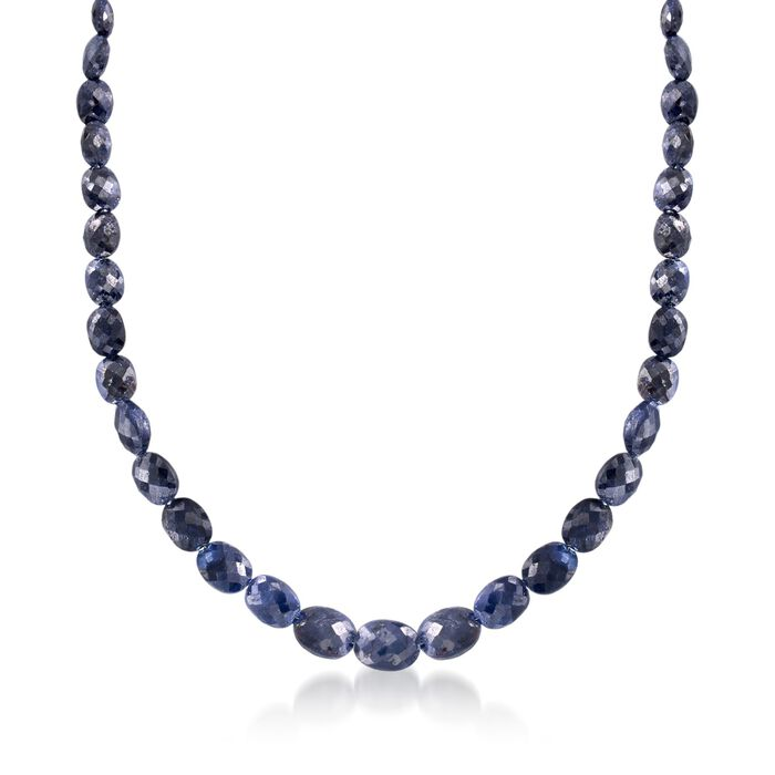 """6-12mm Graduated Sapphire Bead Necklace in Sterling Silver. 18.5"""", , default"""