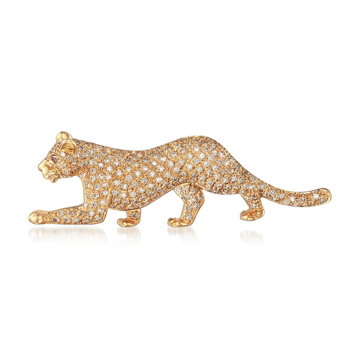 C. 1990 Vintage .56 ct. t.w. Diamond Panther Pin in 14kt Yellow Gold