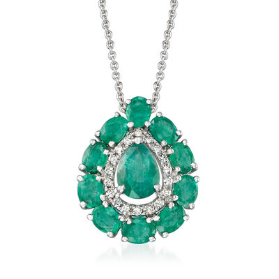 2.00 ct. t.w. Emerald and .10 ct. t.w. Diamond Pendant Necklace in 18kt White Gold, , default