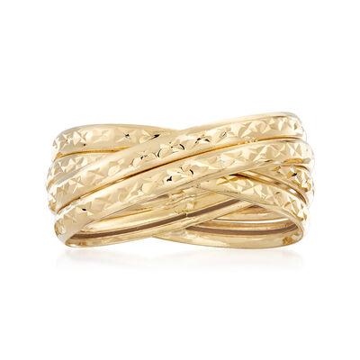 18kt Yellow Gold Multi-Band Crisscross Ring, , default