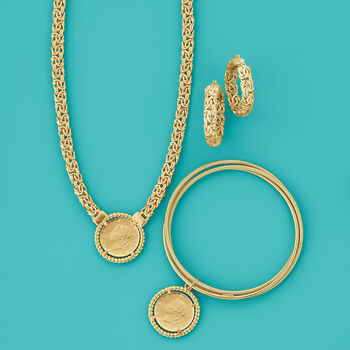 Italian 18kt Gold Over Sterling Replica Lira Coin Byzantine Necklace, , default