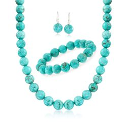 """Simulated Turquoise Bead Necklace With Free Earrings and Bracelet. 18"""", , default"""