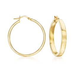 Italian 18kt Gold Over Sterling Hoop Earrings, , default