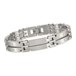 "Men's Stainless Steel Brushed Link Bracelet With CZ Accents. 9"", , default"