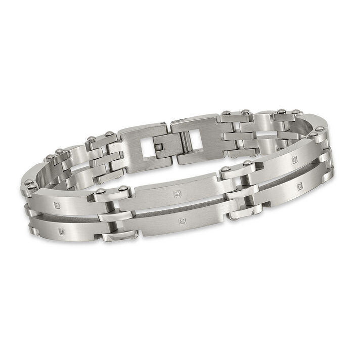 """Men's Stainless Steel Brushed Link Bracelet with CZ Accents. 9"""", , default"""