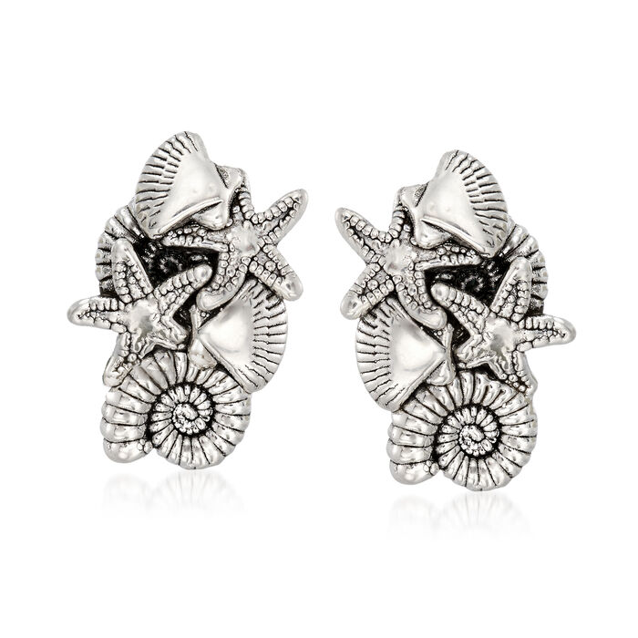 Sterling Silver Sealife Earrings, , default