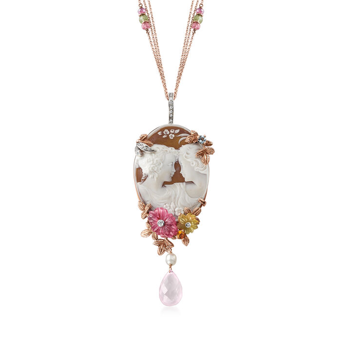 "C. 1978 Vintage 7.60 ct. t.w. Multi-Gem Cameo Pin Pendant Necklace in 18kt Rose Gold. 17"", , default"