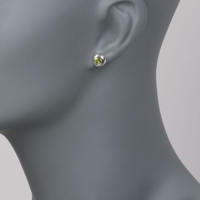 "Zina Sterling Silver ""Ripples"" 1.00 ct. t.w. Peridot Stud Earrings"