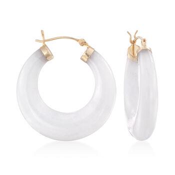 "White Kunlun Jade Hoop Earrings in 14kt Yellow Gold. 1 1/8"", , default"