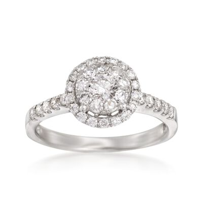 .75 ct. t.w. Diamond Halo Ring in 14kt White Gold, , default