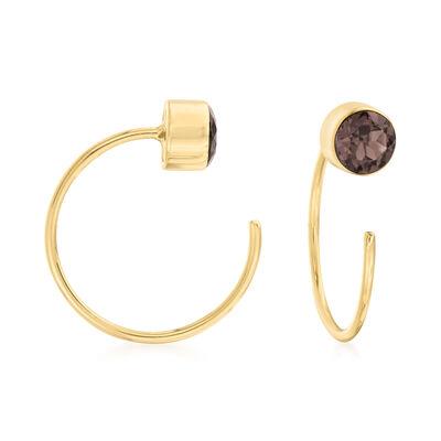 .40 ct. t.w. Smoky Quartz C-Hoop Earrings in 14kt Yellow Gold