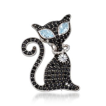 2.00 ct. t.w. Black Spinel and 1.40 ct. t.w. Blue and White Topaz Cat Pin Pendant Necklace in Sterling. 18""