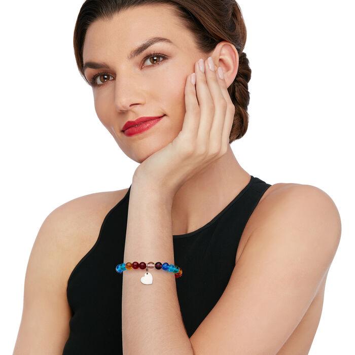 Italian Rainbow Murano Glass Bead Stretch Bracelet with Sterling Silver Heart Charm