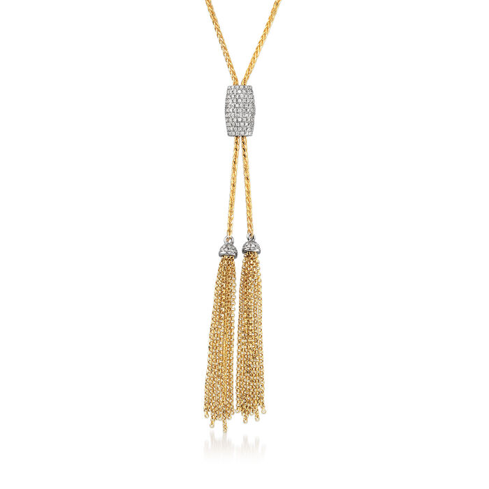 .68 ct. t.w. Pave Diamond Lariat Necklace in 14kt Yellow Gold