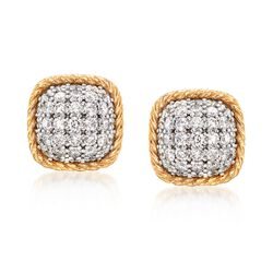 "Roberto Coin ""Barocco"" 1.48 ct. t.w. Diamond Square Earrings in 18kt Yellow Gold, , default"