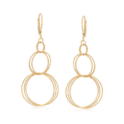 Italian 18kt Yellow Gold Drop Earrings, , default