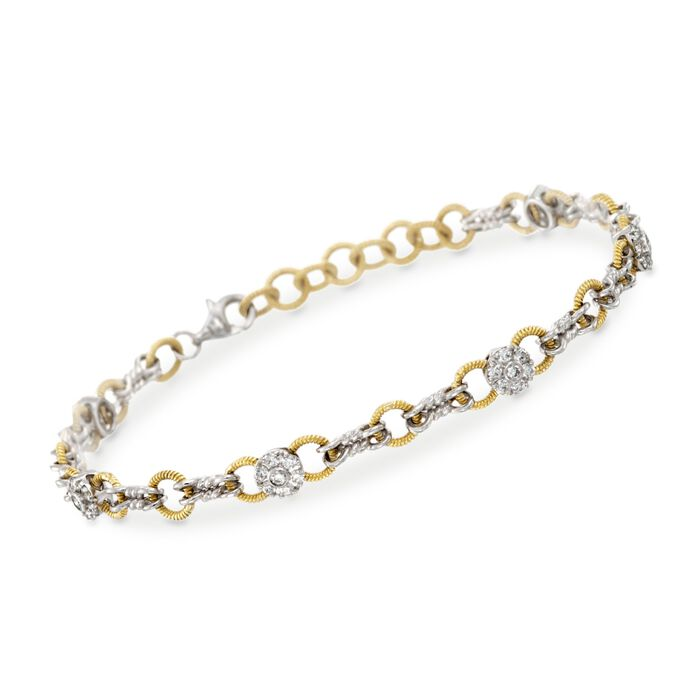 "C. 2014 Simon G. .70 ct. t.w. Diamond Station Link Bracelet in 18kt Two-Tone Gold. 7"""